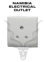 Namibia Electrical Outlet - Namibia standard is 220/230 Volts AC 50 Hz, three-pin 15 amp outlets.