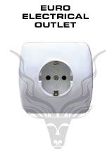 European Electrical Outlet - European standard is 220 Volts, two-pin outlets.