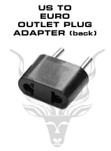 American to European Outlet Plug Adapter - To be plugged in a 220V European outlets. Will accept American plugs.