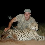 This is the first Cheetah taken with a bow in Namibia. World renowned bowhunter Steve Kobrine took this Cheetah with a 75 yard shot.
